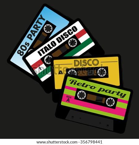 Illustration of Retro Audio Cassette Tape Isolated on Black Background - stock vector