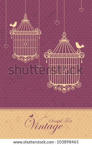 illustration of retro background with bird cage in vintage style - stock vector
