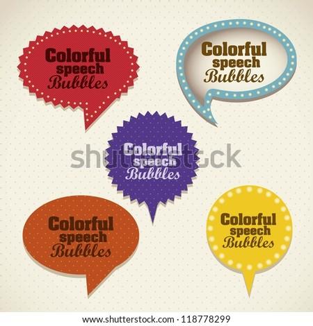 Illustration of retro speech bubbles. Colorful text balloons. Vector illustration - stock vector