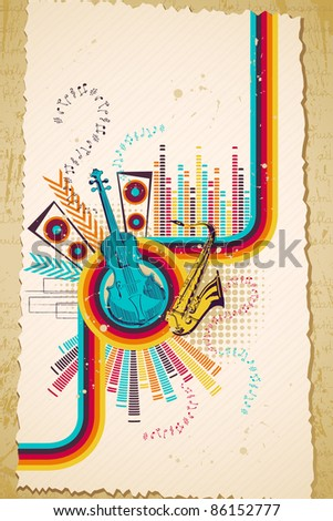 illustration of retro style musical background with violin - stock vector