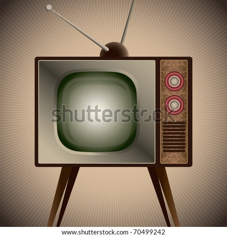 Illustration of retro television set. Vector illustration. - stock vector