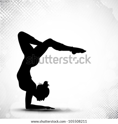 Illustration of rhythmic gymnastic girl on grungy abstract background in grey color. EPS10. - stock vector