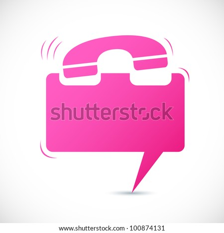 illustration of ringing phone in shape of chat bubble - stock vector