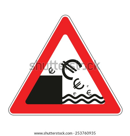 Illustration of road sign with concept of declining euro currency - stock vector