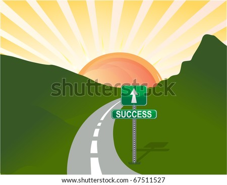 Illustration of road to success. Vector - stock vector