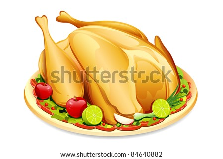 illustration of roasted holiday turkey on platter with garnish - stock vector