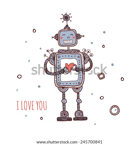 Illustration of robot in love with heart isolated - stock vector