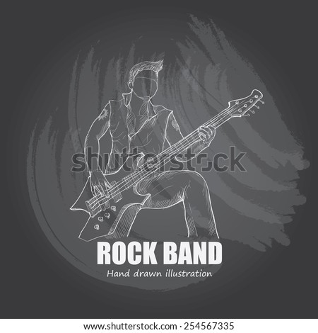 illustration of rock band. bass guitar - stock vector