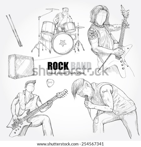 illustration of rock band. drawing vector - stock vector