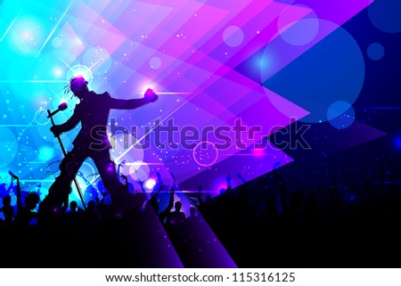 illustration of rock star performing in music concert - stock vector