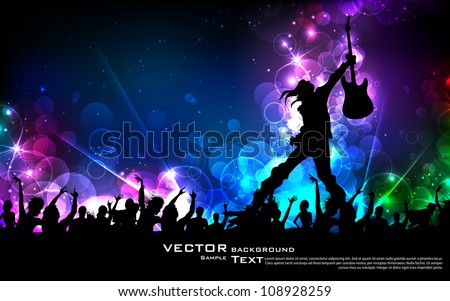illustration of rock star performing with guitar on abstract background - stock vector