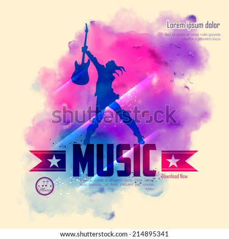 illustration of rock star with guitar for musical background - stock vector