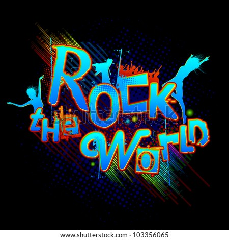 illustration of rock the world text with dancing people - stock vector