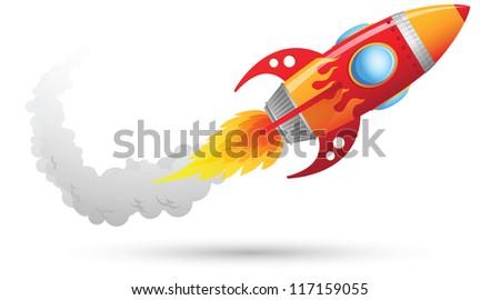 Illustration of Rocket flying - stock vector