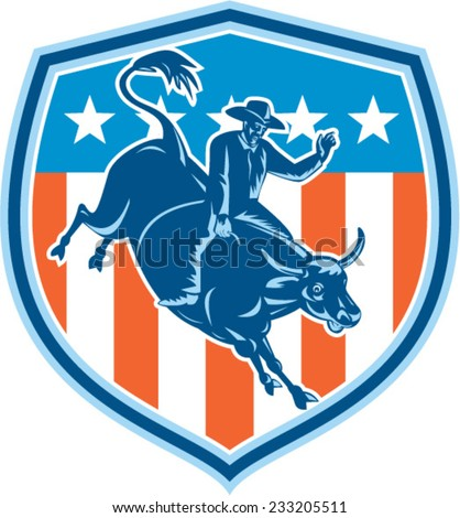 Illustration of rodeo cowboy riding bucking bull set inside shield crest with american stars and stripes flag in the background done in retro style.