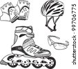 Illustration of roller skating equipment - roller skates, gloves, helmet, glasses - stock vector