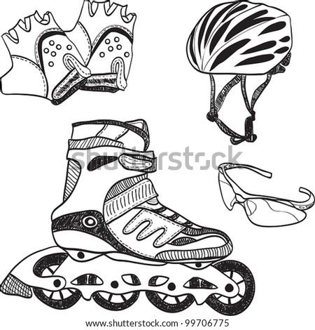 Illustration of roller skating equipment - roller skates, gloves, helmet, glasses - stock vector