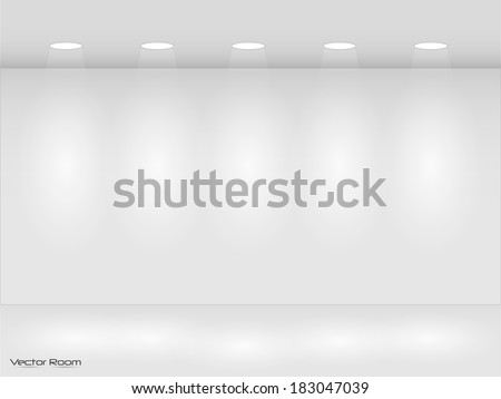 Illustration of room with lights. - stock vector