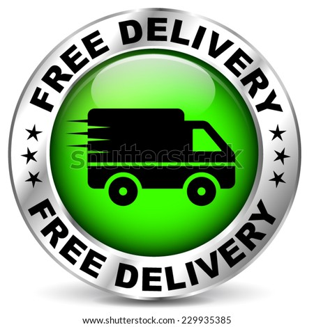 illustration of round chrome and green free delivery icon