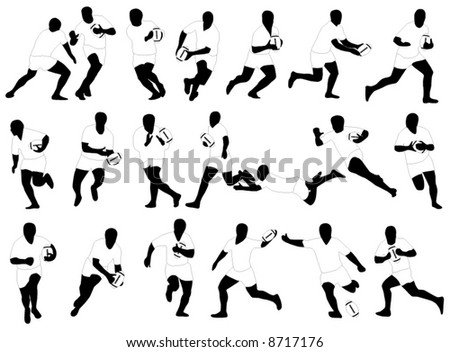 Illustration of rugby players - stock vector
