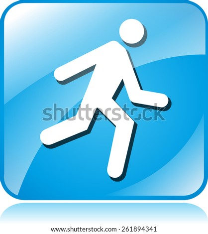 illustration of run blue square icon on white background
