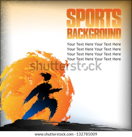 Illustration of runner silhouette on background with space for text