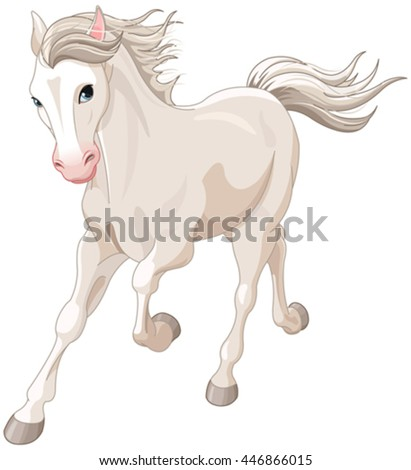 Illustration of running beautiful white horse