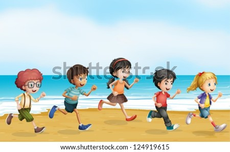 Illustration of running children near the sea - stock vector