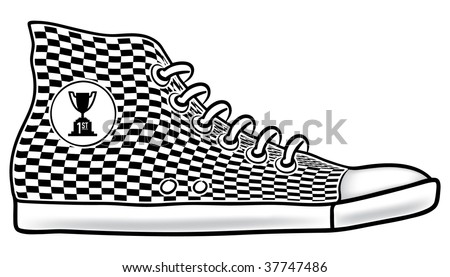 Illustration of running shoe with checkered pattern and first place cup race trophy icon - stock vector