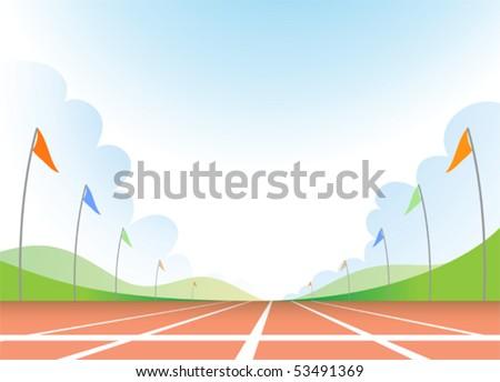 Illustration of running track - stock vector