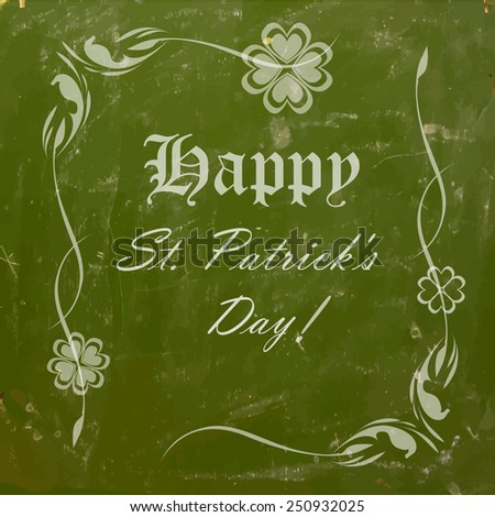 illustration of Saint Patrick's Day background with clover leaf - stock vector