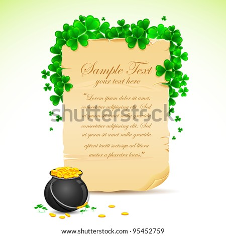 illustration of Saint Patrick's Day card with clove leaf and gold pot - stock vector