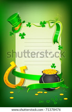 illustration of Saint Patrick's day card with hat gold pot and horse shoe - stock vector