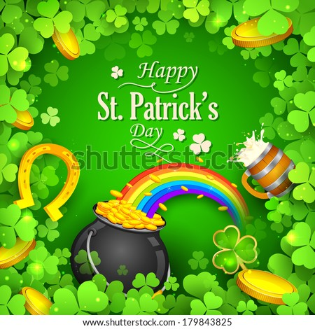 illustration of Saint Patricks Day background with clover leaf - stock vector