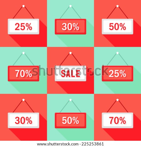 Illustration of Sale 25% 30% 50% and 70 % Sign Icons Set