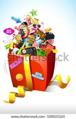 illustration of sale product popping out of gift box - stock vector