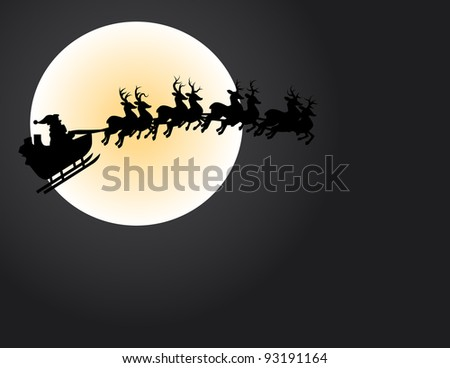 Illustration of Santa and his reindeer crossing the moon face. - stock vector