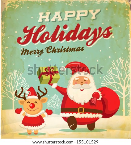 Illustration of Santa claus and Christmas reindeer in Christmas background - stock vector
