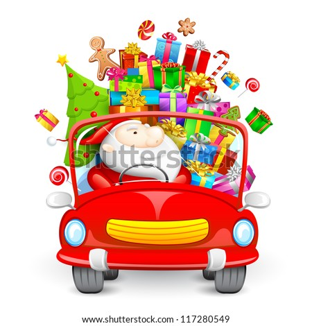illustration of Santa Claus driving car with Christmas gift - stock vector