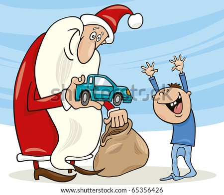 illustration of santa claus giving toy car to happy little boy - stock vector