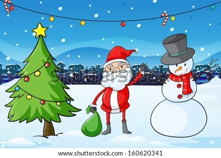 Illustration of Santa Claus in the middle of the pine tree and the snowman