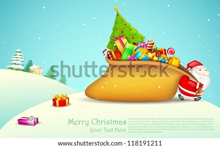 illustration of Santa Claus pulling sack of gift in Christmas night - stock vector