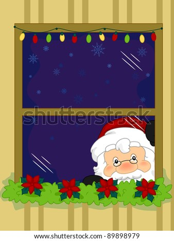 Illustration of Santa Claus Taking a Peek from the Window - stock vector