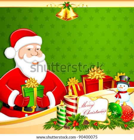 illustration of santa claus with christmas gifts