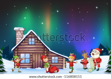 illustration of santa clause, kids and reindeer in nature - stock vector