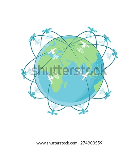 Illustration of satellites flying around earth. Global Positioning System - stock vector