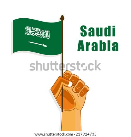 Illustration of Saudi Arabia flag in Hand For National day - stock vector