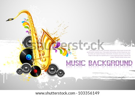 illustration of saxophone and speaker on abstract background - stock vector