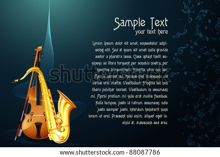 illustration of saxophone with violin in abstract musical background - stock vector