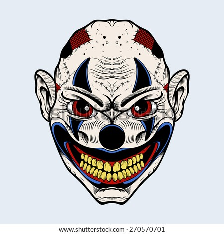 Illustration of scary clown with red eyes. - stock vector